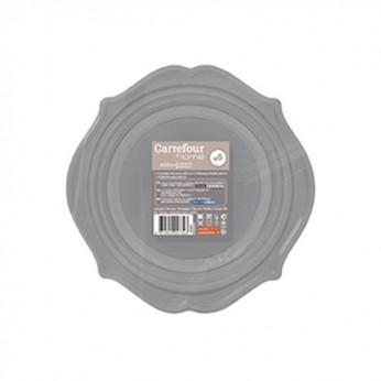 6 assiettes Romance 20cm grises