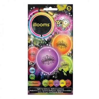 "5 Ballons LED ""Joyeux anniversaire"""