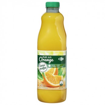 Jus d'orange sans pulpe Carrefour