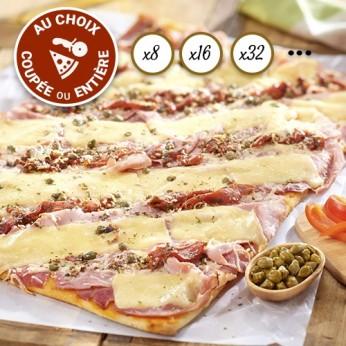 Pizza jambon mozzarella  coupée en 64
