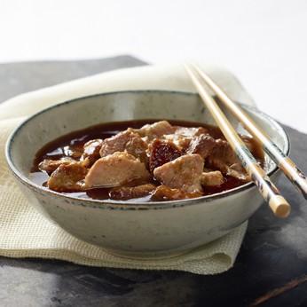 Porc au caramel et riz thai