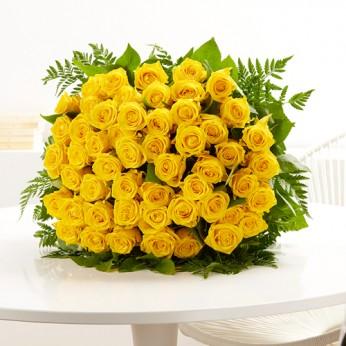 Bouquet de 50 roses jaunes