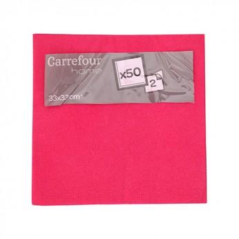 50 serviettes en papier fushia