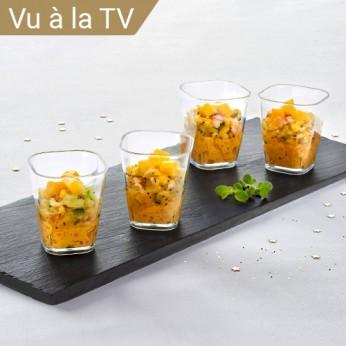 4 Verrines Langoustine Lentilles corail