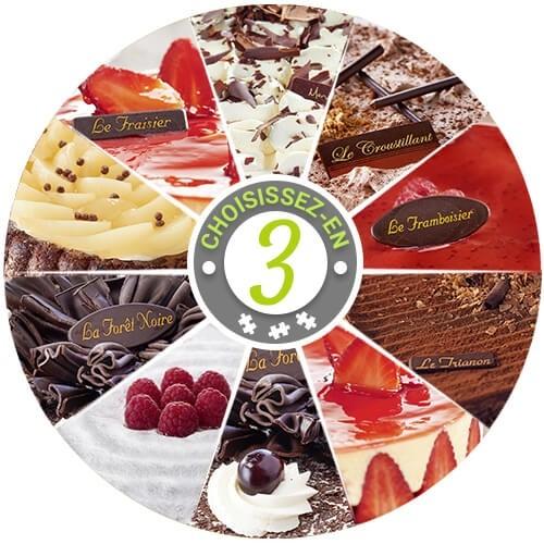 assortiment de 3 gâteaux (18 parts) - gâteaux - gâteaux & desserts