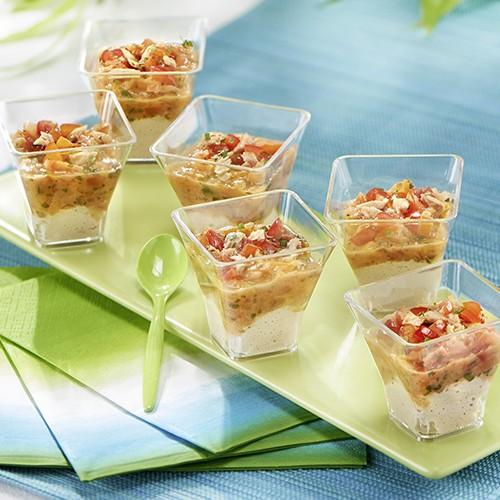 6 verrines tartare de tomates et thon - Carrefour Traiteur Mariage