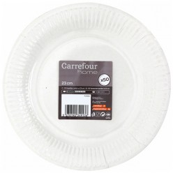 50 assiettes carton D 23 cm Carrefour Home
