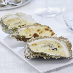 Huîtres à gratiner sauce crémée champagne