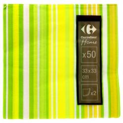 50 serviettes en papier 33x33 bayadère jaune/vert Carrefour Home