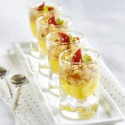 Verrine tartare de crevettes au citron et tomates confites