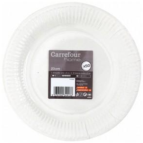 50 assiettes carton D 23 cm Carrefour Home