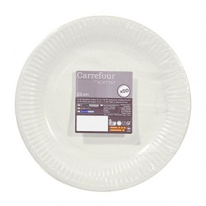50 assiettes en carton D15cm blanches