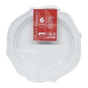 6 assiettes Romance 20cm blanches