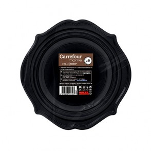 6 assiettes Romance 20cm noires
