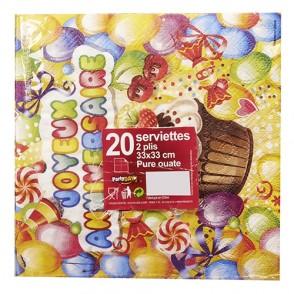 "20 serviettes ""Cupcake"" 33x33cm"