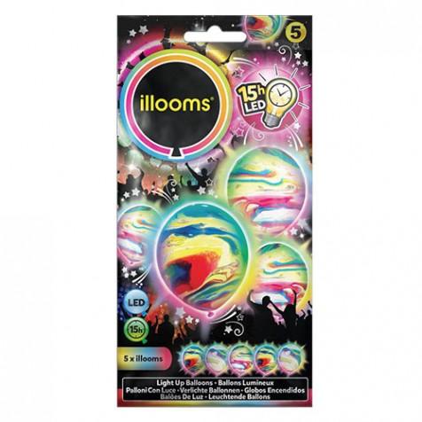 5 Ballons LED mixtes marbrés